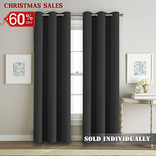 FlamingoP 95% Blackout Shade Curtains Thermal Insulated Grommet Window  Treatment Panels, 42 Inch By 84 Inch Solid In Deep Gray (One Panel)