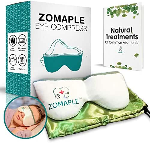 Heated Eye Mask for Dry Eyes - Warm Compress for Eyes | Moisturizing Heat for Styes, Pink Eyes, Blepharitis and Puffy Eyes - Adjustable, Microwavable, Washable & Reusable | Bonus Storage Pouch