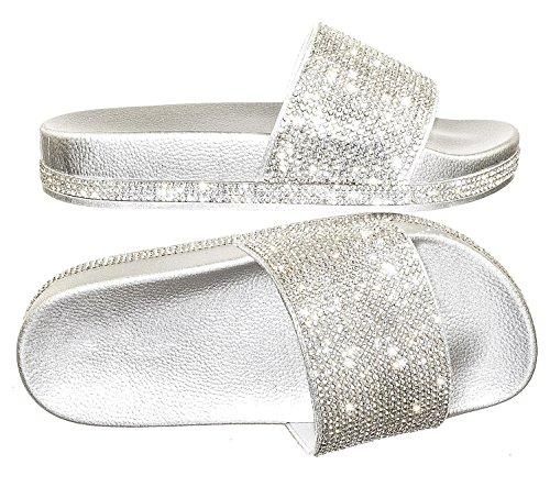 7 Rhinestone Glitter Slide Slip On Flatform Footbed Sandal Slippers (7.5, Silver-07) (Silver Slides)