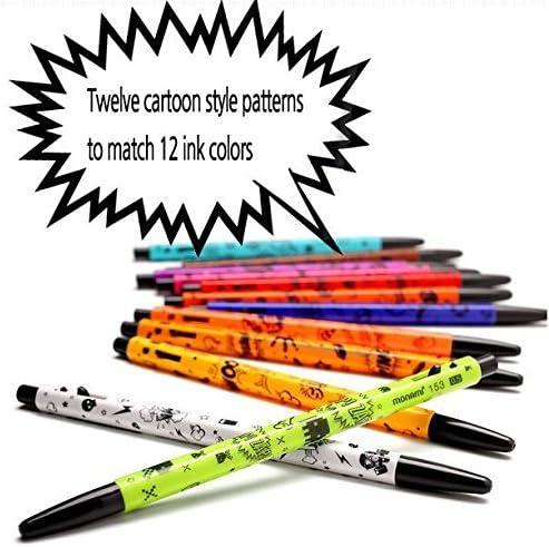 Monami 153 Cartoon Ball Point Pen 12 Colors Set  0.5mm Oil-based