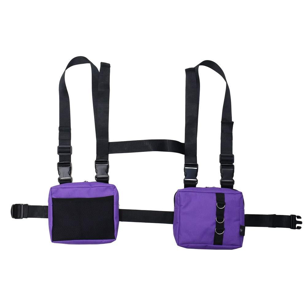 NEDVI Men Women Fashion Chest Front Bag Hip Hop Streetwear Functional Waist Packs Bag Adjustable Tactical Shoulder Bags Chest Rig Bag,Purple Bag by NEDVI
