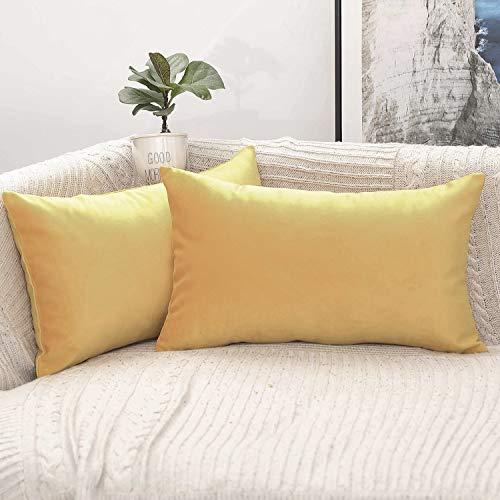 Phantoscope Pack of 2 Decorative Soft Velvet Series Lemon Ye