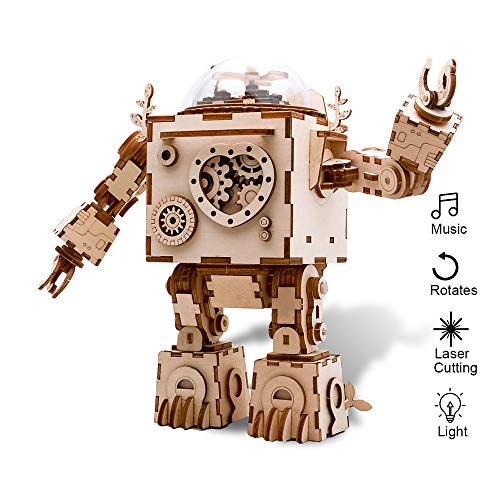 Eggschale DIY Music Box Kit Machinarium 3D Puzzle Wooden Toy Handcraft Robot with Light Christmas Birthday Thanksgiving Gifts for Adults Kids