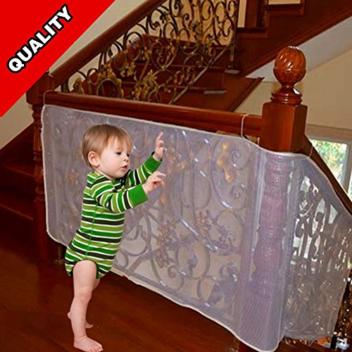 DearDo 118 L x 29 W-Inch Kids Balcony Stairs Safety Protector Net Roving Cove Safe Rail- Child Pet Toy (118 Knob)