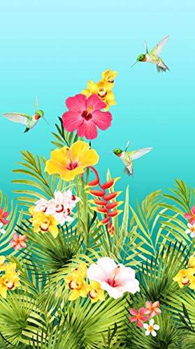 "Island Sun Panel Hummingbirds & Hibiscus by Terri Farrell-Gittins from Northcott 100% Cotton Quilt Fabric DP22620 64 Aqua - 24"" x 42"""