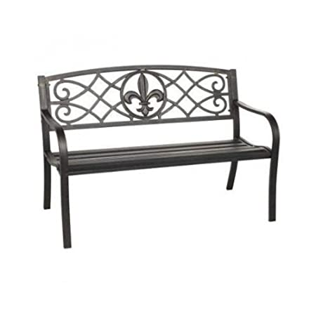 Metal Park Bench With Fleur De Lis Design, Look Great in Garden or on Porch. Sturdy Design with 500lb Weight limit. Excelent Gift