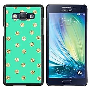 Caucho caso de Shell duro de la cubierta de accesorios de protección BY RAYDREAMMM - Samsung Galaxy A5 A5000 - Pantalla Dot Oro Verde Brillante