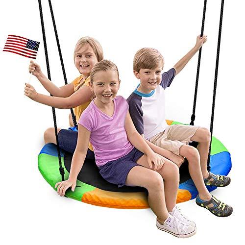 Juegoal 40 Inch Saucer Tree Swing, Large Rope Swing with Children Swing Platform Bonus Carabiner for Hanging Rope Outdoor