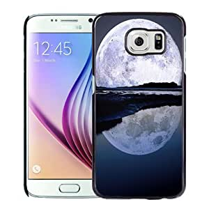 Beautiful Unique Designed Samsung Galaxy S6 Phone Case With Super Moon Water Reflection_Black Phone Case