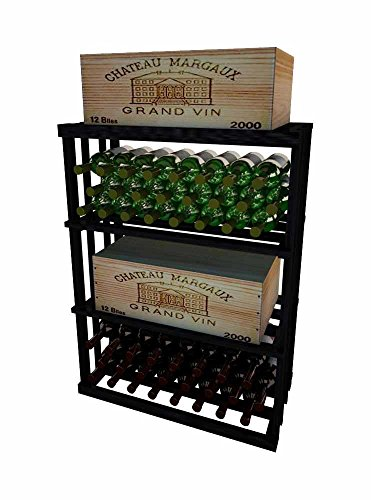 Vintner Series Wine Rack - 1 Column Rectangular Bin - 3 Ft - Premium Redwood with Midnight Black Stain