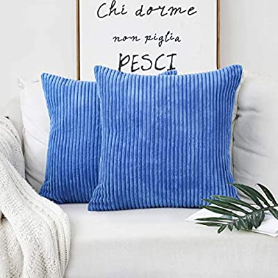 Home Brilliant Throw Pillow Cover Decorative Soft Velvet Corduroy Striped Square Cushion Cover for Bench, Set of 2, 18 x 18 inch (45cm), Blue - FEATURES: Color: Blue. Measures: 18x18 inch (45x45cm), tailored for 18x18 inch insert. PACKAGE: include 2 pc cushion cover. No cushion insert. WASHING GUIDE: Machine Wash Cold Separately, Gently Cycle Only, No Bleach, Tumble Dry Low. - living-room-soft-furnishings, living-room, decorative-pillows - 51fsarpTngL. SS400  -