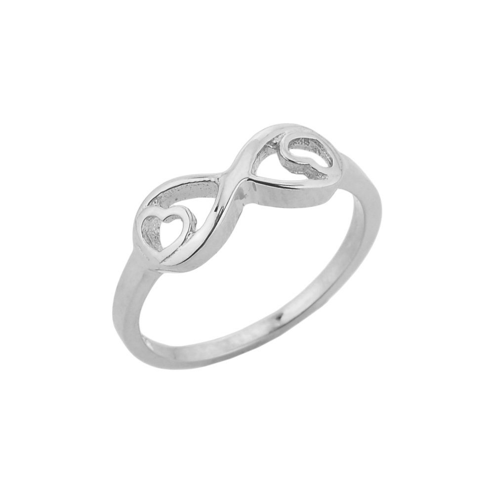 Fine 925 Sterling Silver Double Heart Infinity Ring, Size 2.5