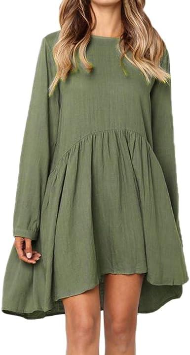 Mujer Hermoso Vestidos Faldas Algodon Otoño Invierno 2019 De Vuelta a la Escuela Casual Cóctel Fiesta Dress de Partido Cuello Redondo Manga Larga Pliegues en Color Liso: Amazon.es: Ropa y accesorios