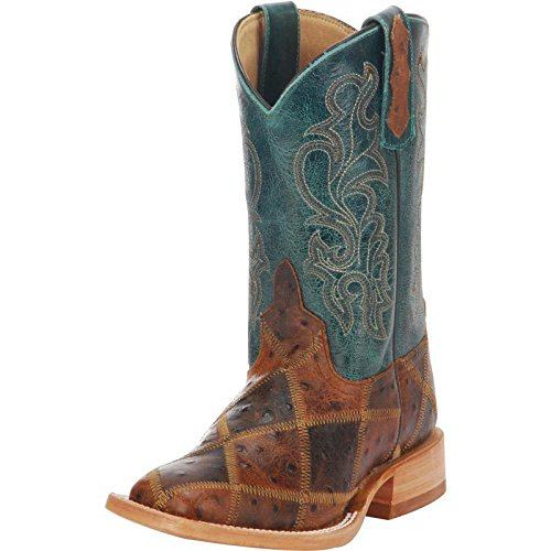 NRS Anderson Bean Boys Kid s Angry Bird Patchwork Cowboy Boots 10 C/D US Brown/Turquoise
