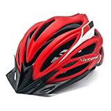 VICTGOAL Bike Helmet with Detachable Visor Back Light & Insect Net Padded Adjustable Sport Cycling Helmet Lightweight Bicycle Helmets for Adult Men and Women Youth Teenagers (Red)