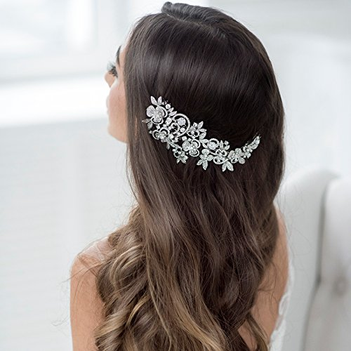 Sepjewelry Sparkly Long Flower Hair Comb Rhinestone Crystals Bridal Wedding Hair Combs Accessories Jewelry Hair Clips FA5027 Silver