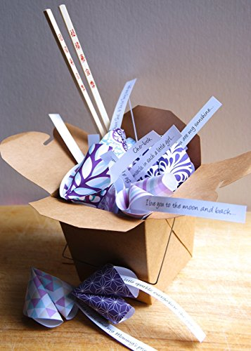 Personalized Paper Origami Fortune Cookies in Takeout Box and Chopsticks with Customized Messages Baby Shower Korean Baek-il Birthday -