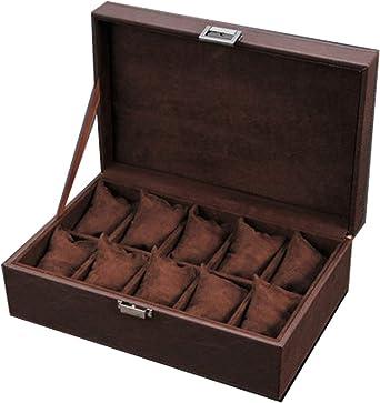 Caja para Relojes Madera 10 Compartimentos Maciza Exhibidor Hecho Desmontable Almohadas Cerradura De Metal Caja De Reloj Marrón: Amazon.es: Relojes