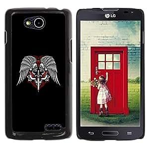 Be Good Phone Accessory // Dura Cáscara cubierta Protectora Caso Carcasa Funda de Protección para LG OPTIMUS L90 / D415 // Wings Sword Symbol Freemasons Skulls