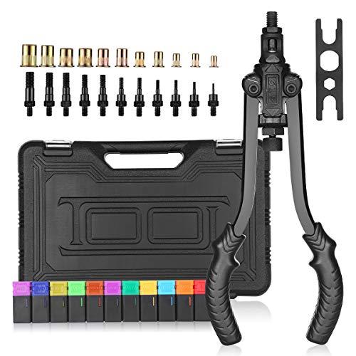 U-handle and Labor-Saving Design zision tool Professional Rivet Setter Kit,Hand Rivet Nut Tool with 8 Metric /& SAE Mandrels and 80pcs Rivet Nuts