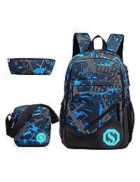 JiaYou Boy 20L Fashion School Bag Backpack with Florescent Mark 3 Sets/2 Sets(ColorF 3 Sets,20L)