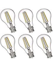 FLSNT A19/A60 LED Edison Light Bulbs 60W Equivalent B22 Base,7 Watts LED Filament Bulbs,2700K Soft White,Non-Dimmable,800LM,Clear Glass,6 Pack