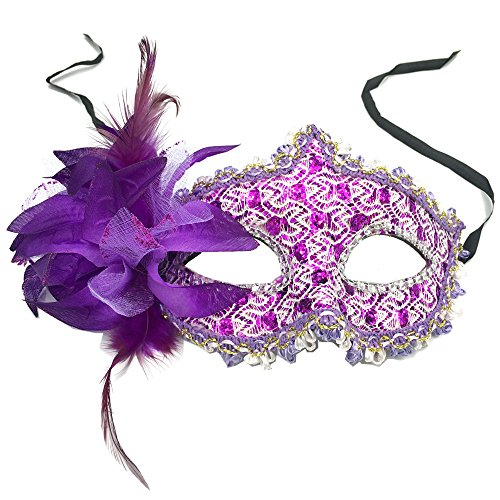 1pc Venetian Style Lily Princess Lace Pattern Mask for Masquerade Halloween Costume Party By (Fool Costume)
