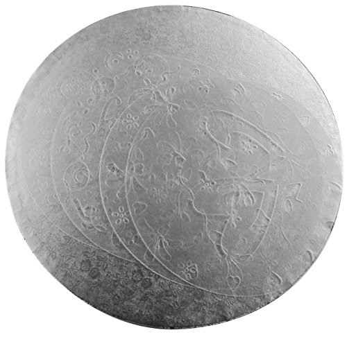 Cake Drum 12 inch 2 pcs Silver Round Board, for Presenting Cakes Cheesecakes Snacks Including 4 Free Different Pattern Plastic Cake Stencils for Decorating Cakes on Any Occasion
