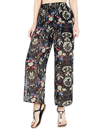 Femme Fente Bigood Pantalon Fleur Imprimé Élastique Taille À Large Chiffon Haute 0HqwPFxqI