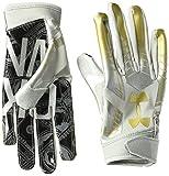 Under Armour Boys' F6 LE Football Gloves, Aluminum (052)/Metallic Gold, Youth Medium