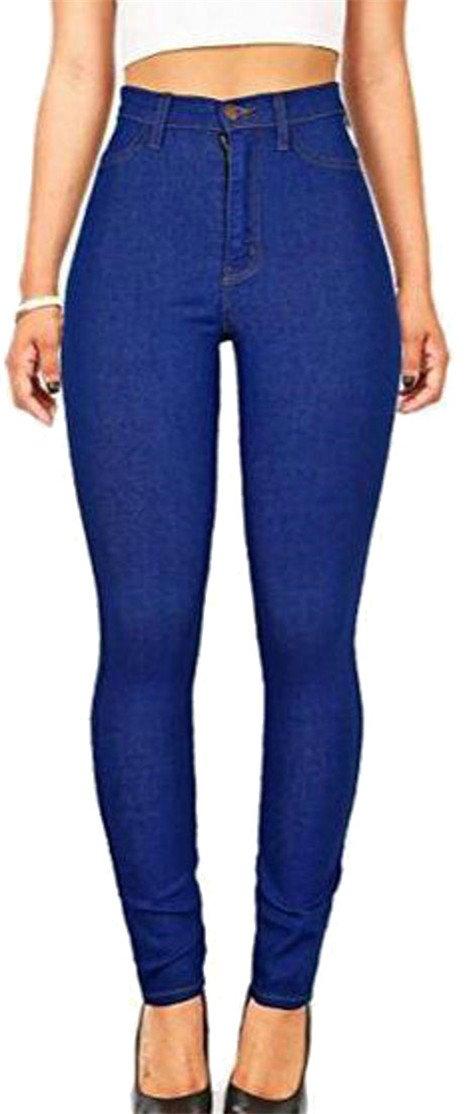 P&E Women's Butt Lift Stretch Basic High Waist Jogger Ankle Denim Pants Jewelry Blue s