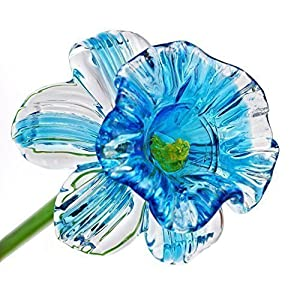 "Light Blue Glass Daffodil Flower, One-of-a-kind. Life Size 20"" long. FREE SHIPPING to the lower 48 when you spend over $35.00 6"