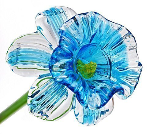 Light Blue Glass Daffodil Flower, One-of-a-kind. Life Size 20