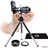 Universal 3in1 Lens Kit with 12x Telephoto + Macro + Wide Angle Lenses - Awesome Mobile Photography for Apple iPhone, Samsung Galaxy, etc. - Locking Lens Clip - Adjustable Tripod (for Telephoto Lens)