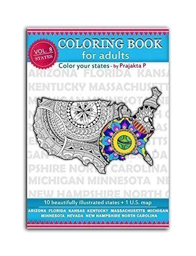 Volume 08 - USA state maps adult coloring book, stress relieving patterns for all, spiral bound Patriotic coloring gifts