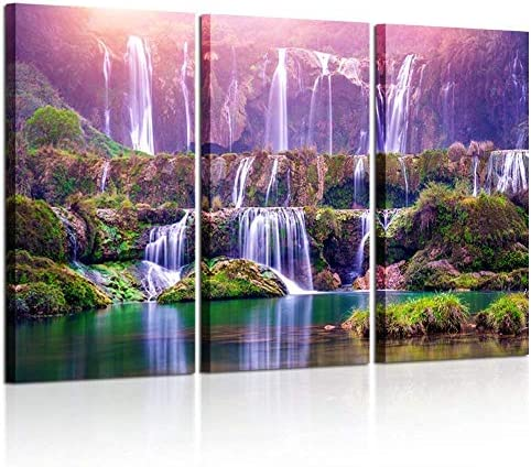 picture of Kreative Arts Large Size 3 Pieces Peaceful Dreamlike Waterfall Canvas
