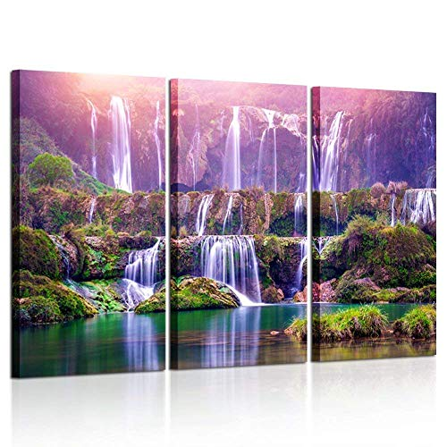 Kreative Arts Large Size 3 Pieces Peaceful Dreamlike Waterfall Canvas Wall Art Purple Landscape Picture Artwork Modern Nature Painting Hotel Bedroom Interior Home Decor 16x32inchx3pcs