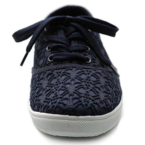 Ollio Damen Ballettschuh Schnürschuh Sneaker Canvas Flat Marine