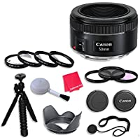 Canon EF 50mm f/1.8 STM Lens & Accessories for Canon EOS Rebel T5, T5i, Sl1, T6, T6i, T6s, 7D Mark II, 60D, 70D, 80D, 6D, 5D Mark III Digital SLR Cameras - International Version (No Warranty)