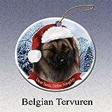 Holiday Pet Gifts Belgian Tervuren Santa Hat Dog Porcelain Christmas Tree Ornament