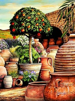 24W x 32H Orange Topiary by Eduardo - Stretched Canvas