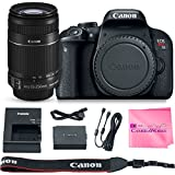 Canon EOS REBEL T7i Body SLR Digital Camera Value Bundle + Canon EF-S 55-250mm f4-5.6 IS Lens + Camera Works Microfiber Cloth