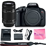 Canon EOS REBEL T7i Body SLR Digital Camera Value Bundle + Canon EF-S 55-250mm f4-5.6 IS Lens + Camera Works Microfiber Cloth For Sale