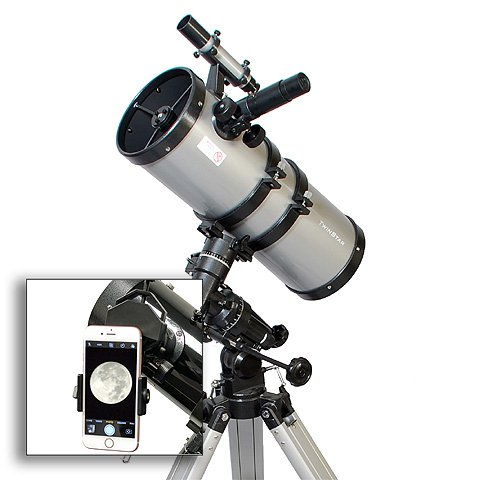 AstroVenture 6'' Short Tube Reflector Telescope With Universal Smartphone Camera Adapter (Silver) by Twin Star