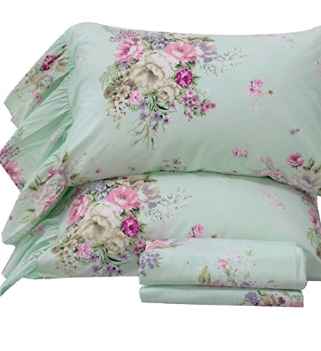 Queen's House 4-Piece Shabby Green Bed Sheet Sets Cotton Queen Size-Style K