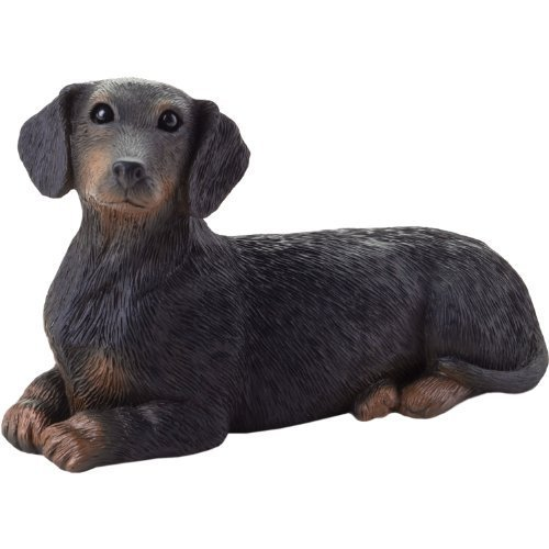 Sandicast Small Size Black Dachshund Sculpture, Lying by Sandicast