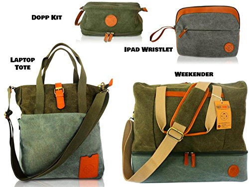 4 Piece Weekend Travel Bag Set - Includes: Canvas Tote, Toiletry Kit, Ipad Wristlet and Weekender Shoulder Bag. Weekend Travel made simple by TASTE DRINK GO. Makes a great Gift! by Taste Drink Go (Image #6)