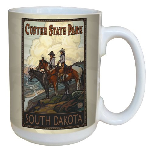 Tree-Free Greetings lm43130 Vintage Custer State Park Horses by Paul A. Lanquist Ceramic Mug with Full-Sized Handle, 15-Ounce, Multicolored