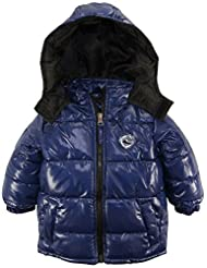 Ixtreme Baby Boys Down Alternative Hooded Winter Puffer Bubble Jacket Coat, Navy, 18 Months