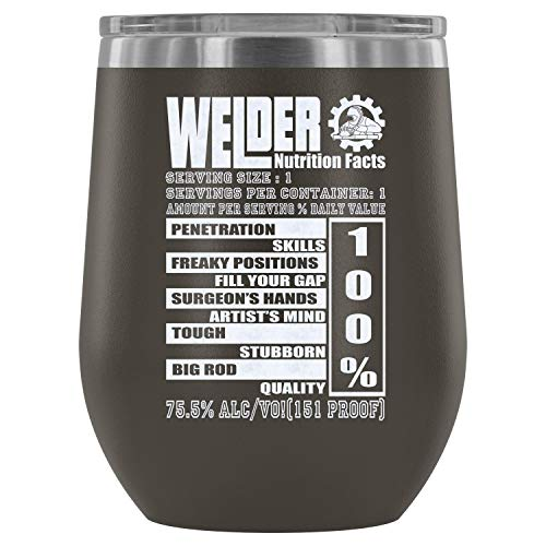 Stainless Steel Tumbler Cup with Lids for Wine, Welder Nutrition Facts Wine Tumbler, I Love Wedling Vacuum Insulated Wine Tumbler (Wine Tumbler 12Oz - Pewter) ()